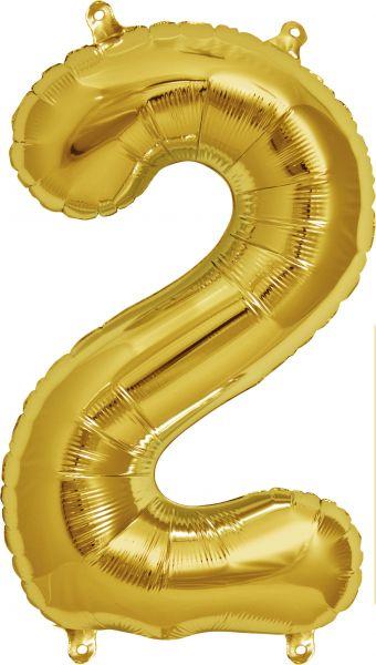 Luftballon Zahl 2 Gold 40cm