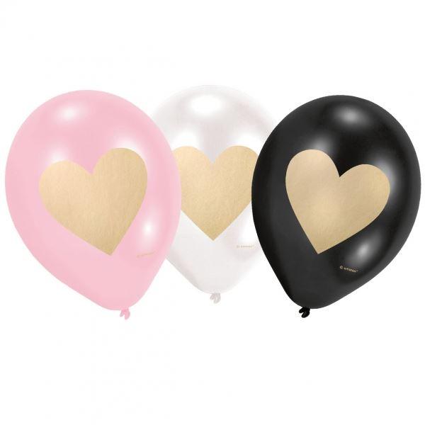 Liebe - 6 Latexballon goldene Herzen Ø 23cm