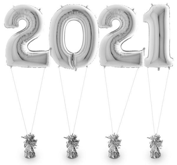 Zahlenballons 2021 Silber inkl. Helium & Gewichten 100 cm