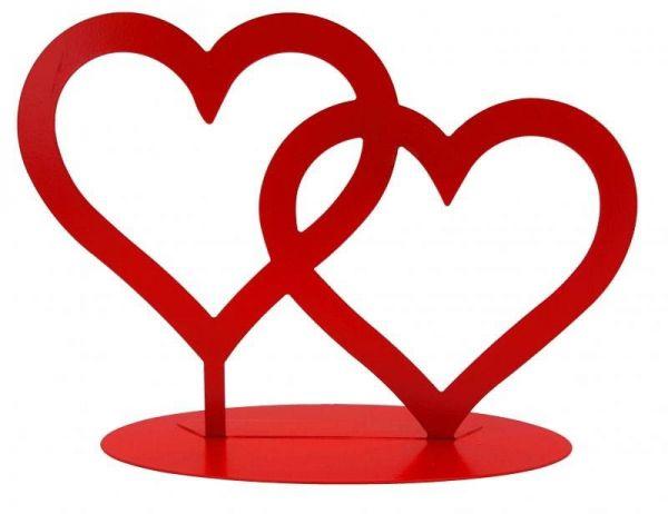 Metall Aufsteller Zwei Herzen Rot