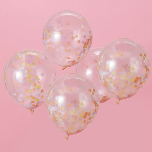 Make a Wish Einhorn - 5 Sternenkonfetti-Ballons Ø 30cm