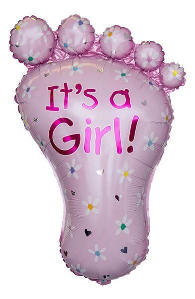 Folienballon Baby Fuß It's A Girl 58x82cm