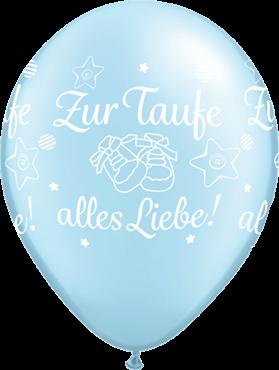 """Qualatex Latexballon """"Zur Taufe alles Liebe!"""" Pearl Pastell Blau Ø 30cm"""