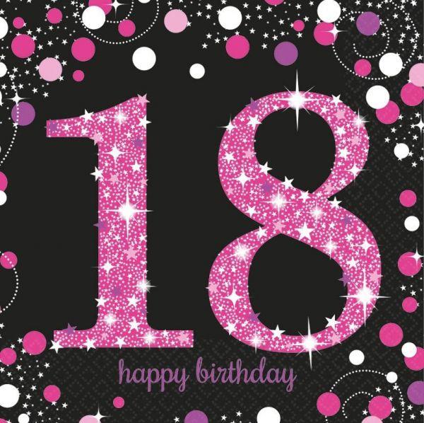 Sparkling Celebration Pink - 18. Geburtstag 16 Servietten
