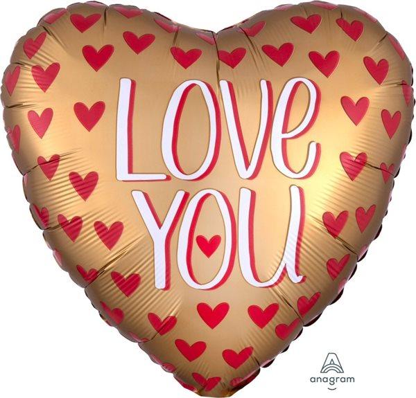 """Folienballon Herz Satin """"Love you"""" 45cm"""