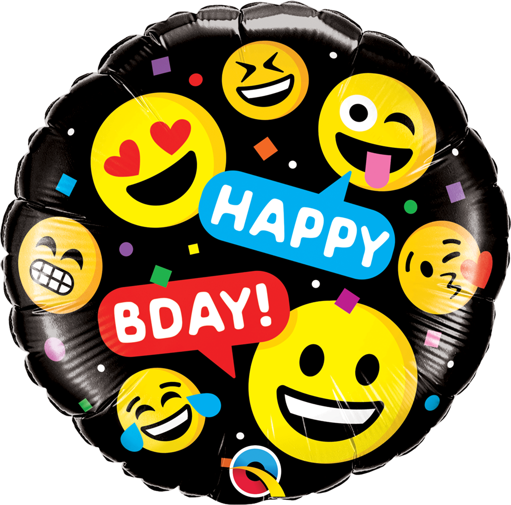 Qualatex Folienballon Happy Bday Emojis 45cm Runde Ballons