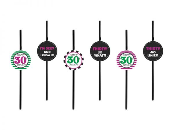 6 Strohhalme zum 30. Geburtstag