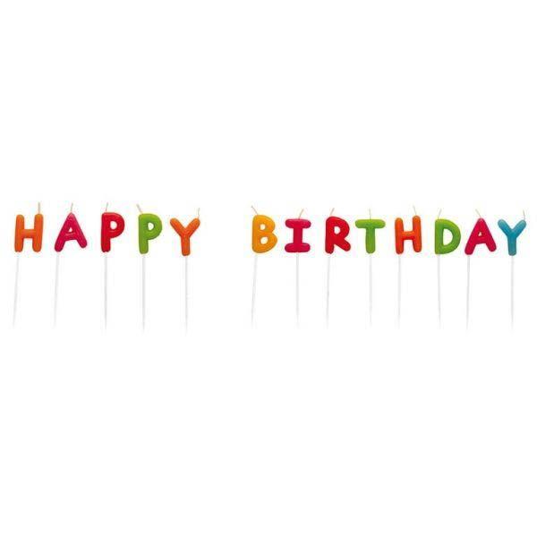 Kerzen-Set Happy Birthday Multicolor