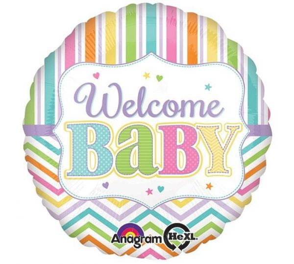 Folienballon Welcome Baby Chevron 43 cm