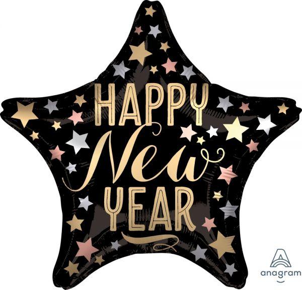 "Silvesterballon Stern Satin Gold & Schwarz ""Happy New Year"""