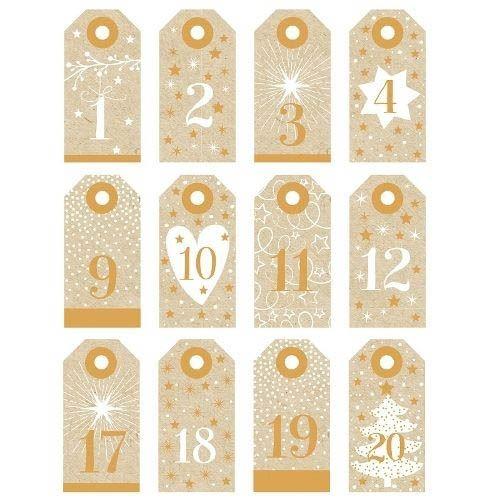 24 Adventskalender Anhänger Natur & Gold