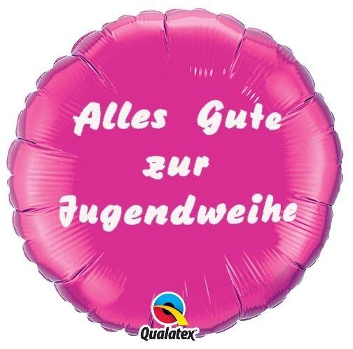 Folienballon Alles Gute zur Jugendweihe Pink 45cm