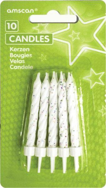 10 weiße Glitzerkerzen mit Haltern