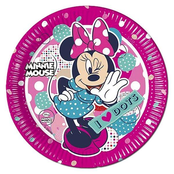 Minnie I love Dots - 8 Pappteller