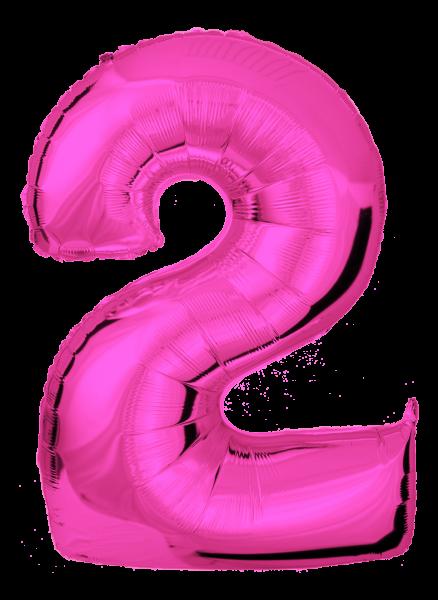 Folienballon Zahl 2 Pink 100cm