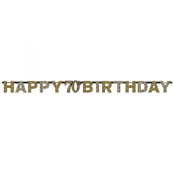 Sparkling Celebration Silber & Gold - Happy Birthday 70 Holo Girlande