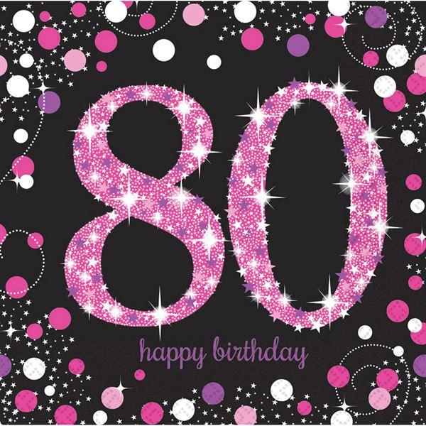 Sparkling Celebration Pink - 80. Geburtstag 16 Servietten