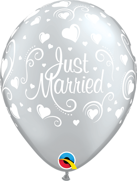 Qualatex Latexballon Just Married - Herzen Silber Ø 30cm