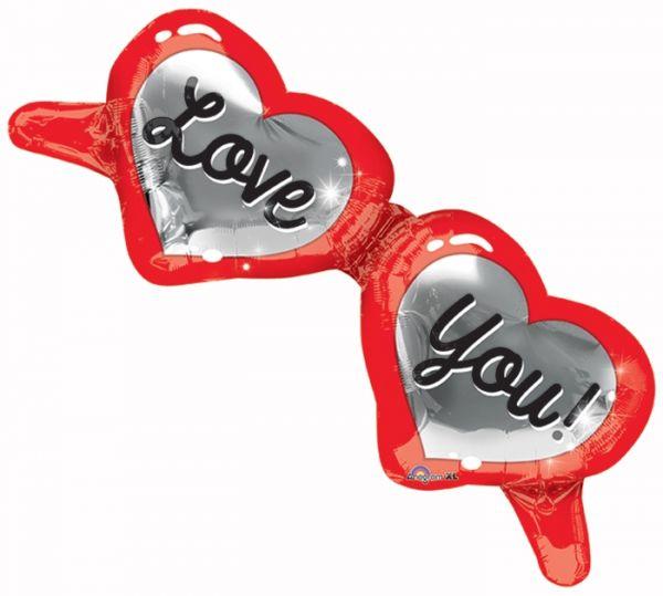 Folienballon Herzbrille Love You! 96x38 cm