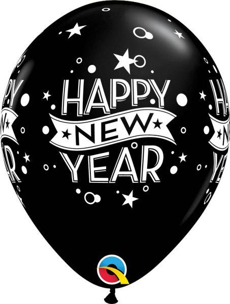 Qualatex Latexballon New Year Konfetti Schwarz Ø 30cm