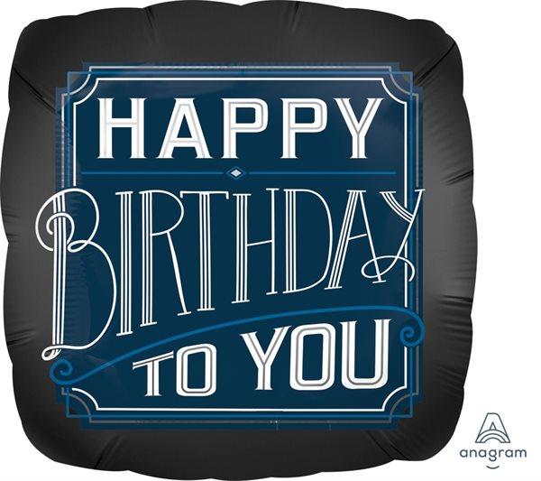 Folienballon zum Geburtstag Schwarz & Blau 45cm