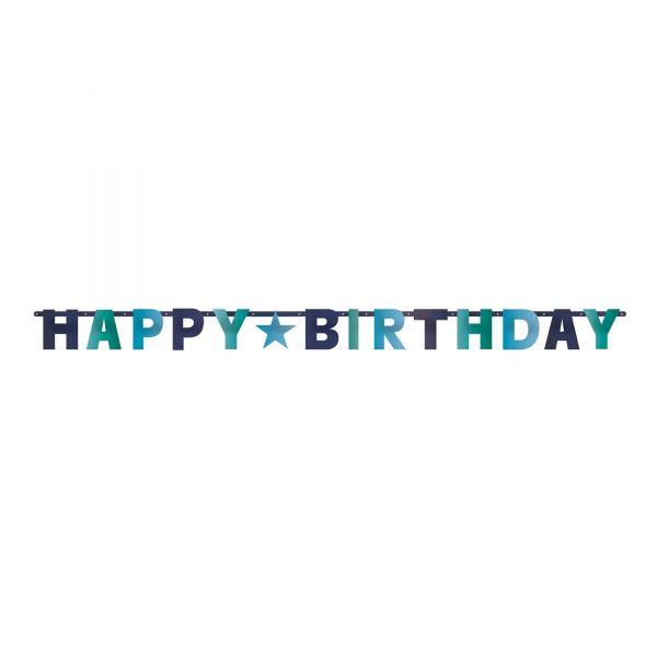 Girlande - Happy Birthday Blau/Türkis