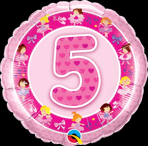 Folienballon 5. Geburtstag Ballerinas 45cm