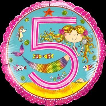 "Folienballon Meerjungfrau ""5"" 45cm"
