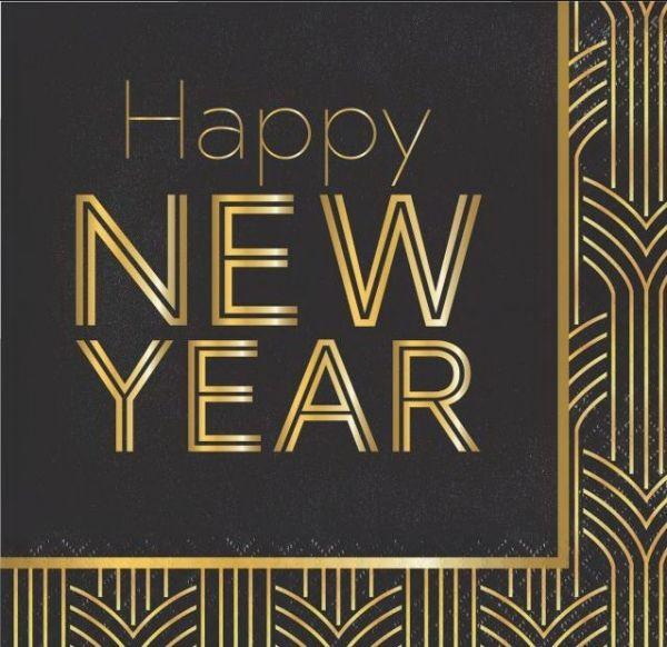 16 Servietten Happy new Year - Schwarz / Gold