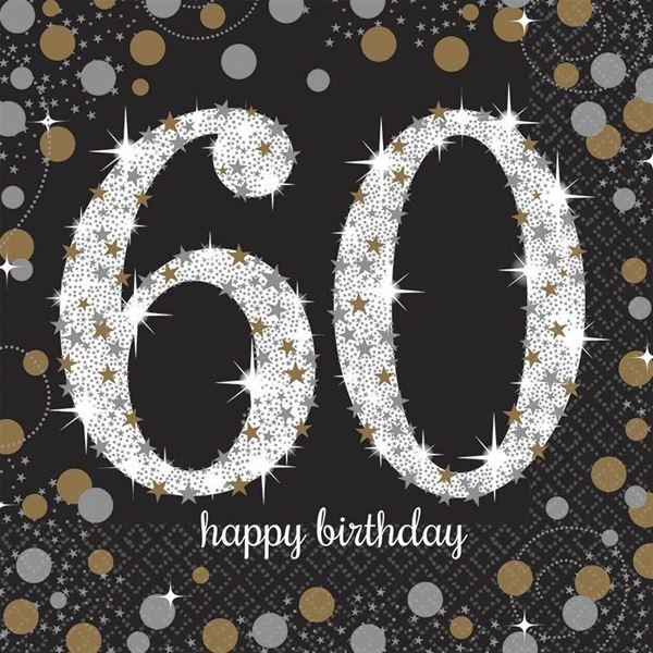 Sparkling Celebration Silber & Gold - 60. Geburtstag 16 Servietten