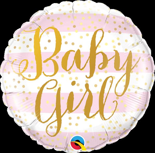 Folienballon zur Geburt Baby Girl Script Rosa 45cm