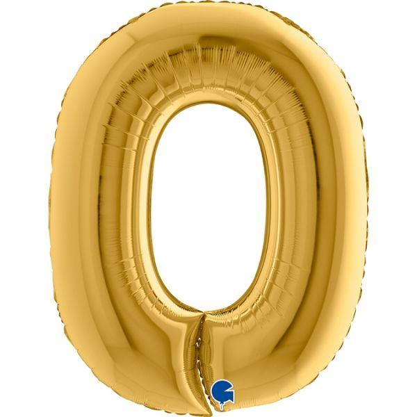 Folienballon Zahl 0 Gelbgold 100cm