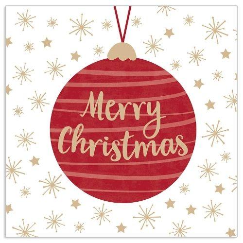 20 Weihnachtsservietten mit Christbaumkugel Rot