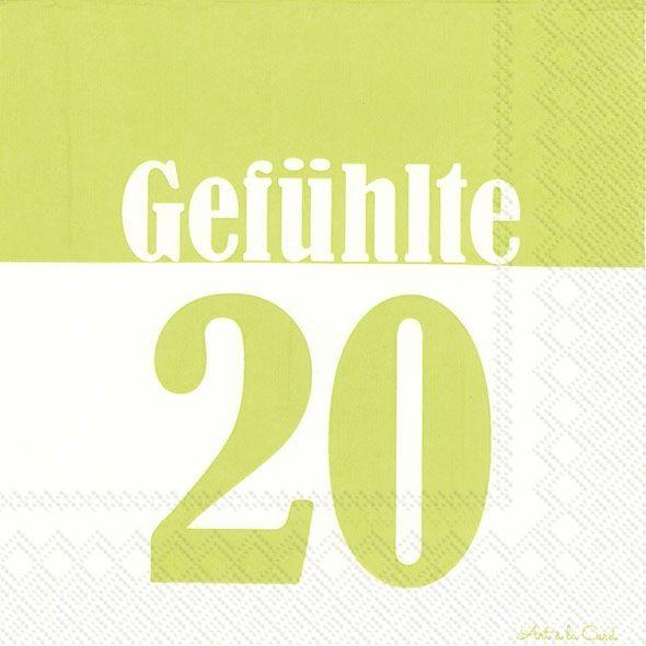 Gefühlte 20 - 20 hellgrüne Geburtstags-Servietten