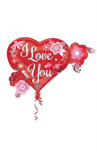 "Folienballon Herz ""I Love You"" mit Blumen 65x50cm"