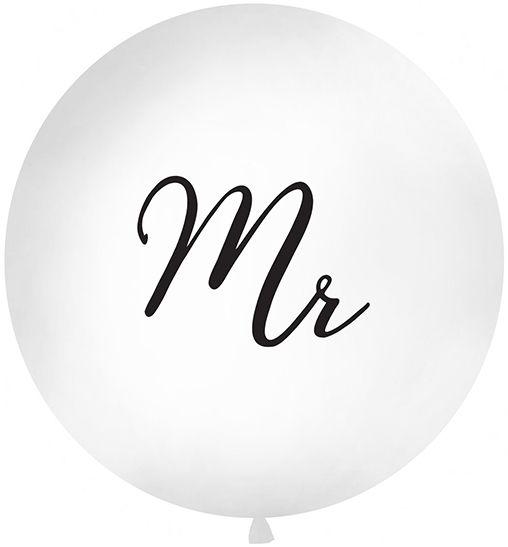 Latexballoon Gigant Mr. White Ø 100cm