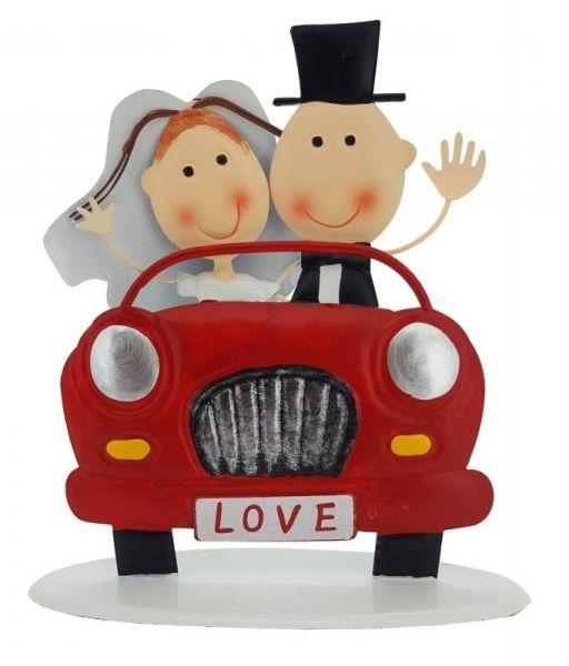 Metall Aufsteller Brautpaar im Auto