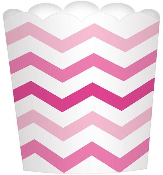 Paper Minis - 24 Dessertbecher Chevron Pink