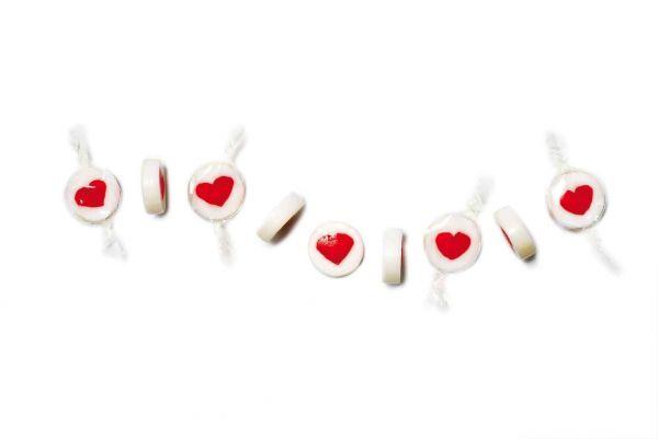 Handgemachte Herz-Bonbons Weiß