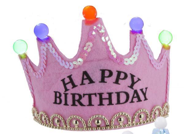 """Partykrone Rosa """"Happy Birthday"""" mit LED Lichtern"""