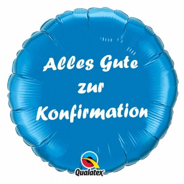 Folienballon Alles Gute zur Konfirmation Blau 45cm