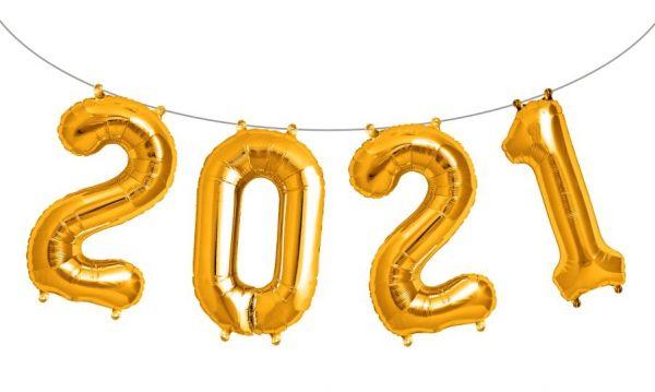 "Folienballon Girlandenset ""2021"" Gold"