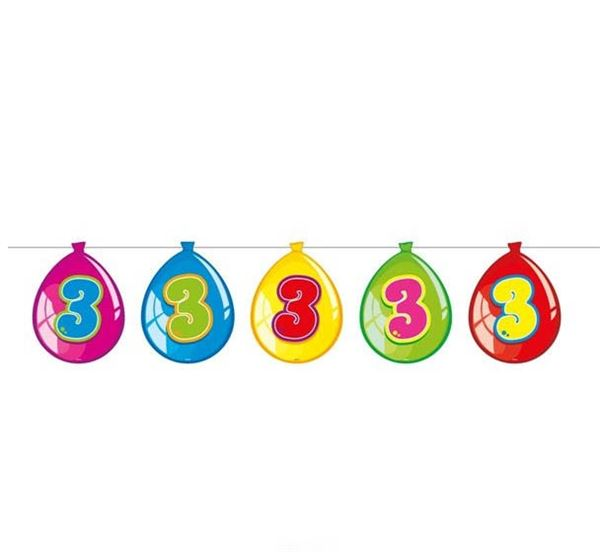 Luftballon-Wimpelkette zum 3. Geburtstag
