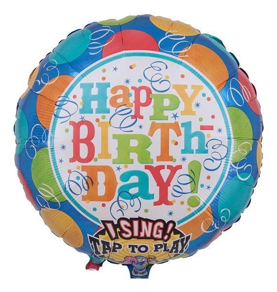 Singender Happy Birthday Ballon mit Ballons & Luftschlangen 71cm