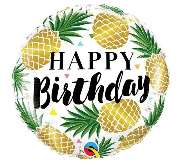 Folienballon Happy Birthday Goldene Ananas 46 cm