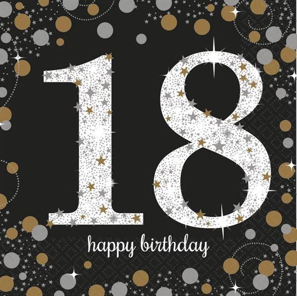 Sparkling Celebration Silber & Gold - 18. Geburtstag 16 Servietten