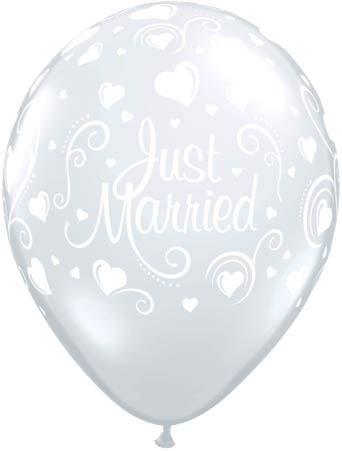 Qualatex Ballon Just Married mit Herzen Transparent 30cm