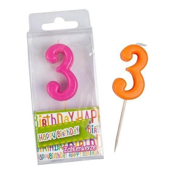 Happy Birthday - Zahlen-Kerze 3
