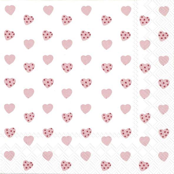 Sweetheart - 20 rosa Herzchen-Cocktail-Servietten