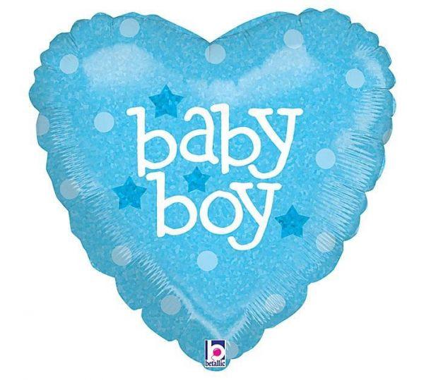Folienballon Herz Baby Boy Holographic 45cm